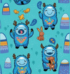 Cute forest monsters seamless pattern in blue vector