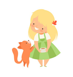 Cute little girl feeding her kitten adorable kid vector