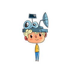 Cute scientist boy character working on physics vector