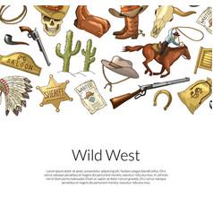 Drawn wild west cowboy vector