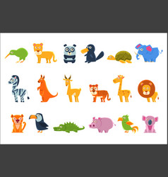 exotic animals fauna set vector image