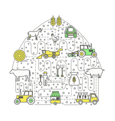 farming concept flat line art vector image