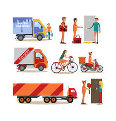 flat icons set food delivery people vector image