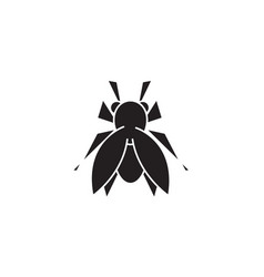 fly black concept icon fly flat vector image