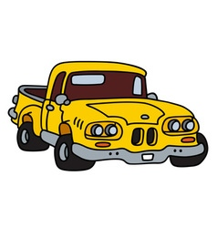 Funny old yellow small truck vector