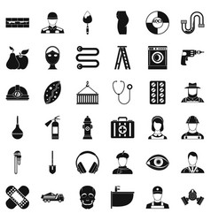 Good occupation icons set simple style vector