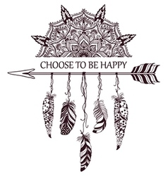 Hand drawn boho style design with mandala arrow vector