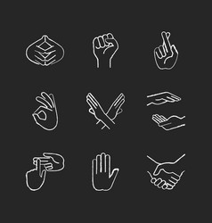 hand gestures chalk white icons set on black vector image