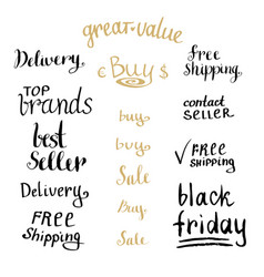 hand writing sales tag collection shopping vector image