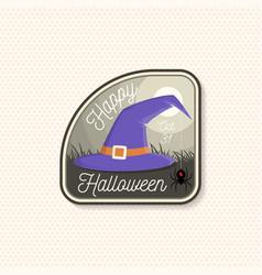 happy halloween patch halloween retro badge pin vector image