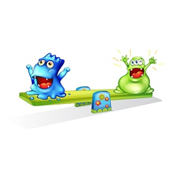 Happy monsters playing vector image