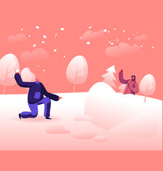 happy young couple playing snowballs fight on vector image