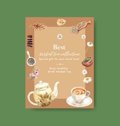 Herbal tea poster design with corn tea bowl tea vector