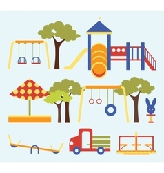 Icons set of playground equipments vector image