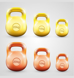 Kettlebell set color vector