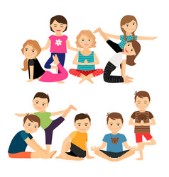 kids groups in yoga poses vector image