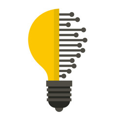 Lightbulb with microcircuit icon isolated vector