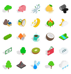 Living planet icons set isometric style vector