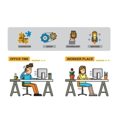 Man and woman in office vector