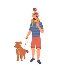 man pet owner walking with dog father and son vector image