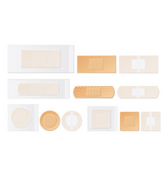 Medical plasters perforated realistic set vector