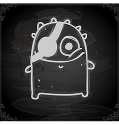 monster with eye patch drawing on chalk board vector image