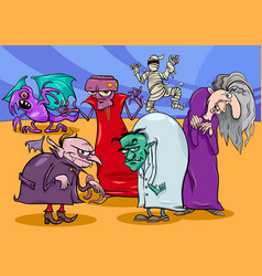 monsters and frights group cartoon vector image