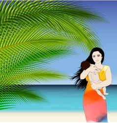 Mother and baby tropical vector
