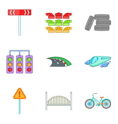 Network of highways icons set cartoon style vector