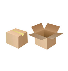 open and closed cardboard box vector image