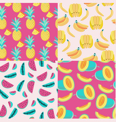 pattern with yellow bananas pineapples and juicy vector image