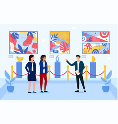 people viewing artwork in a museum vector image