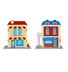 Pizza shop and barber shop vector