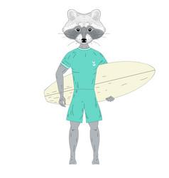 Raccoon surfer with surfboard vector
