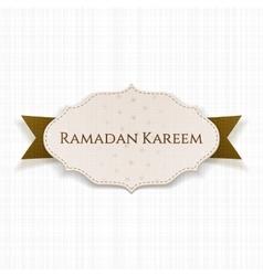 Ramadan Kareem Label with Text and Ribbon vector