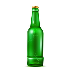realistic green beer bottle with bubbles vector image