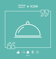 restaurant steel serving tray cloche line icon vector image