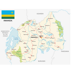 rwanda road and national park map with flag vector image