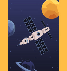 Satellite space station poster with flat cartoon vector