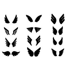 set eagle wing icons design elements for logo vector image