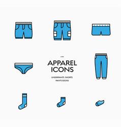 set icons mens underpants shorts pants and vector image