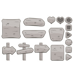 set of cartoon stone signs vector image