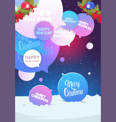 set of chat bubbles with merry christmas and happy vector image