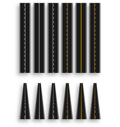set of roads with various white and yellow marks vector image