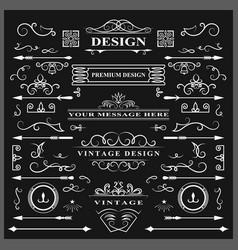 Set of vintage decorations elements flourishes vector