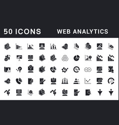 set simple icons web analytics vector image