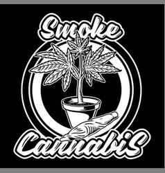 Smoke cannabis print vector