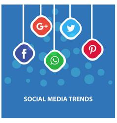Social media trends hanging banner vector