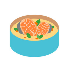 soup salmon for sushi food menu vector image