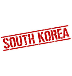 South korea red square stamp vector